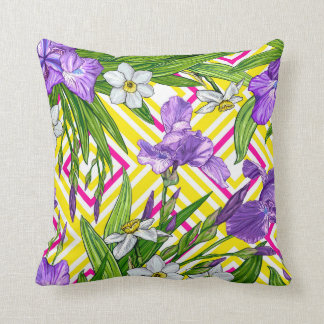 Iris and daffodils flowers pattern throw pillow