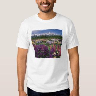 Iris and Lupine garden and Teton Range, Tee Shirt
