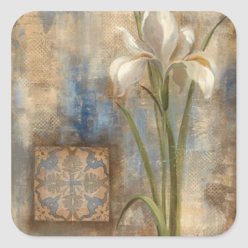 Iris and Tile Square Stickers