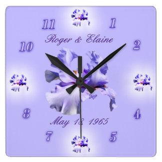 Iris Anniversary Clock- customize & personalize Square Wall Clock
