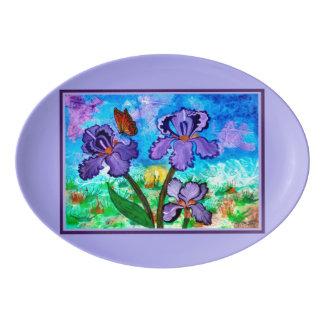 Iris at Sunrise Lavender Trim Serving Platter
