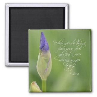 Iris avec la citation magnet carré