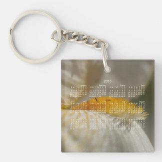 Iris blanc et jaune ; Calendrier 2013 Porte-clé Carré En Acrylique Une Face