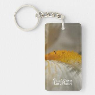 Iris blanc et jaune ; Personnalisable Porte-clé Rectangulaire En Acrylique Une Face
