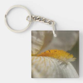 Iris blanc et jaune porte-clé carré en acrylique une face