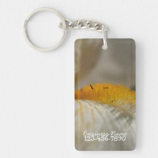 Iris blanc et jaune ; Promotionnel Porte-clé Rectangulaire En Acrylique Une Face