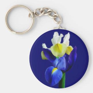 Iris bleus et jaunes 1B Porte-clefs