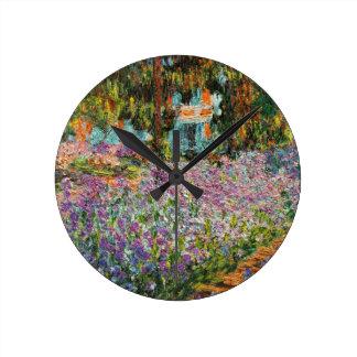 Iris dans le jardin de Monet Horloge