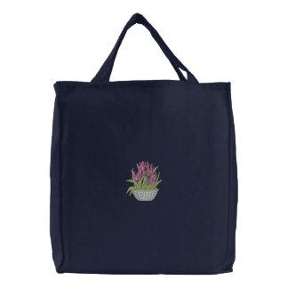 Iris dans le pot sac fourre-tout brodé