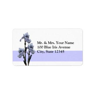 Iris de bleu étiquette d'adresse