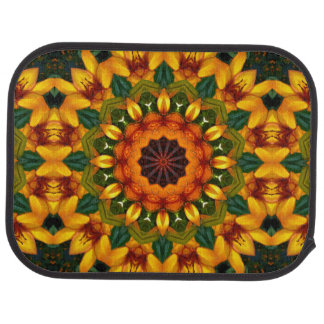 Iris de mandala de fleur, orange et jaune tapis de voiture