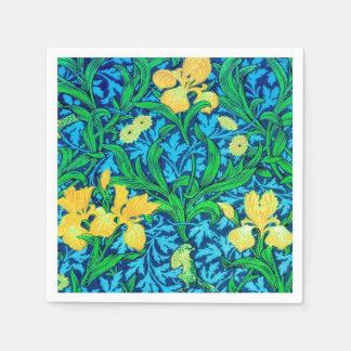 Iris de William Morris, jaune et bleu de cobalt Serviettes Jetables