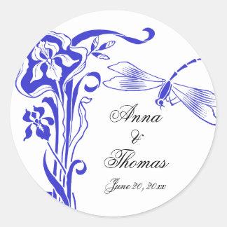Iris & Dragonfly Royal Blue Wedding Stickers