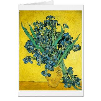 Iris en jaune et bleu de vase carte de vœux