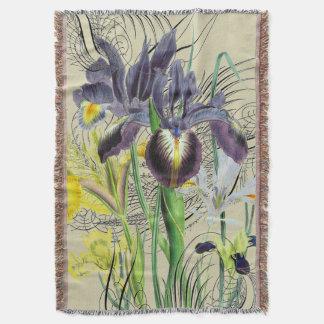 Iris Floral Fantasy 2.0 Neutral Throw Blanket