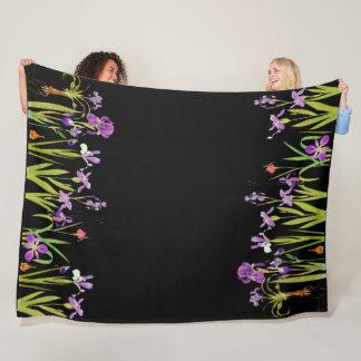 Iris Floral Flowers Garden Fleece Blanket