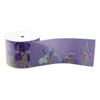 Iris Floral Flowers Garden Grosgrain Ribbon