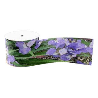 Iris Floral Flowers Grosgrain Ribbon