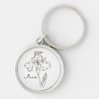 Iris Flower Black Pen Ink Drawing Custom Name Silver-Colored Round Keychain