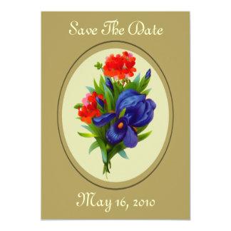 "Iris Flower Bouquet Wedding Save The Date 5"" X 7"" Invitation Card"