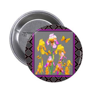 Iris garden Black-Grey lattice Pattern Art 2 Inch Round Button