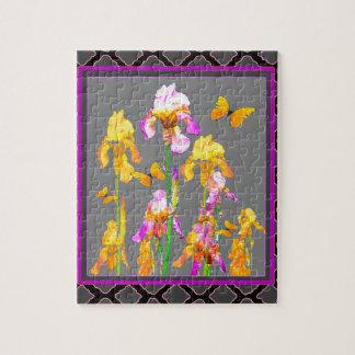 Iris garden Black-Grey lattice Pattern Art Jigsaw Puzzle