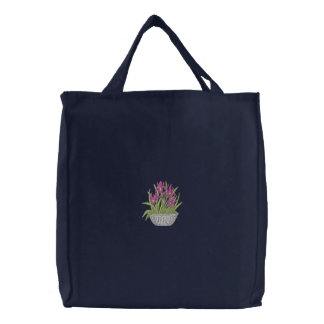 Iris In Pot Canvas Bags