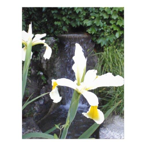 Iris jaune pâle en-tête de lettre avec motif