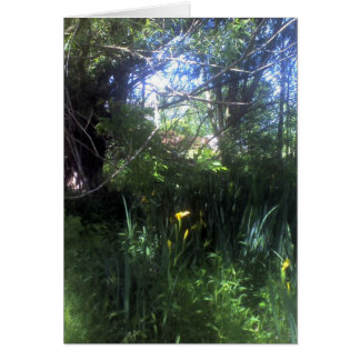 Iris jaunes par l'étang carte de vœux