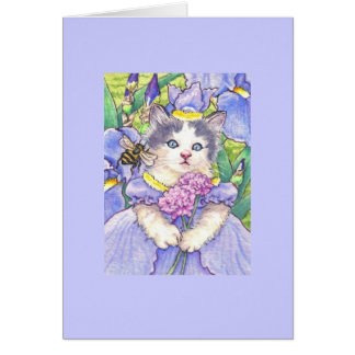 Iris Kitten Blank Note Card
