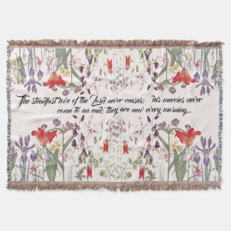 Iris Lily Columbine Flower Scripture Throw Blanket
