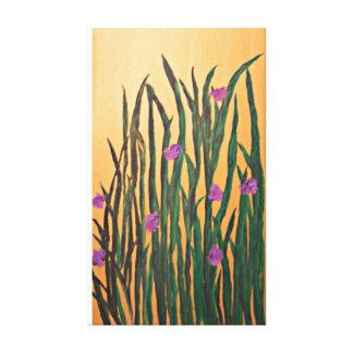 Iris On Gold Canvas Print
