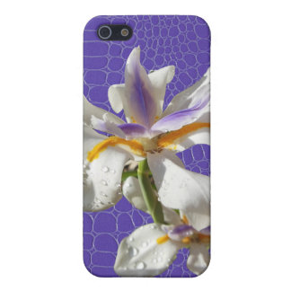 Iris on Purple Alligator Print iPhone 5 Covers
