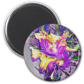 Iris pourpre et jaune d'aimant de fantaisie des magnet rond 8 cm