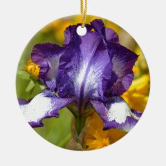 Iris pourpre ornement rond en céramique