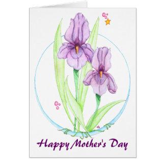 Iris pourpres carte de vœux