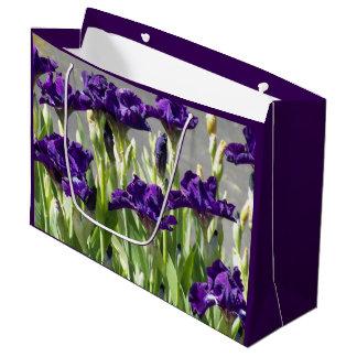 Iris pourpres floraux grand sac cadeau