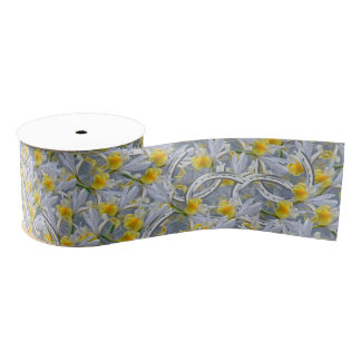Iris silver horseshoes wedding pattern grosgrain ribbon