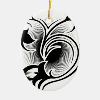 Iris tattoo ceramic oval ornament