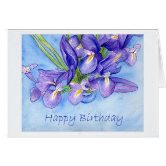 "Iris Vase ""Happy Birthday"" Greeting Card"