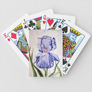 Iris watercolor painting bicycle playing cards