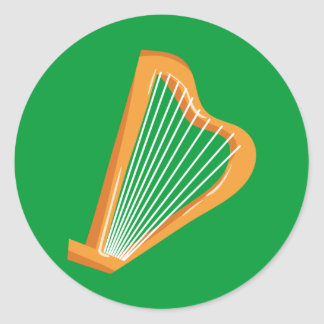 Irische Harfe Irish harp Classic Round Sticker