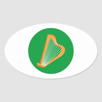 Irische Harfe Irish harp Oval Sticker