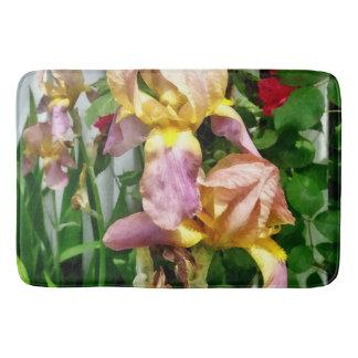 Irises By Picket Fence Bath Mat