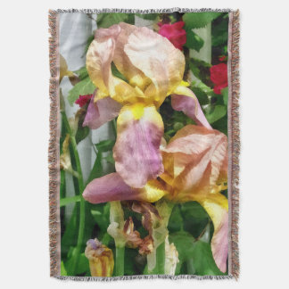 Irises By Picket Fence Throw Blanket