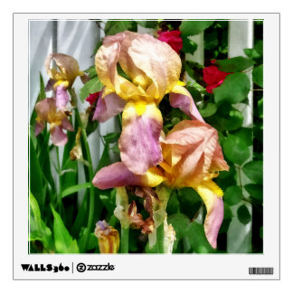 Irises By Picket Fence Wall Decal