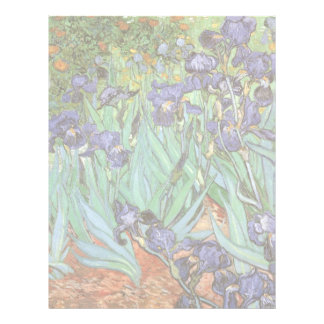 Irises by Vincent van Gogh, Vintage Flowers Art Customized Letterhead