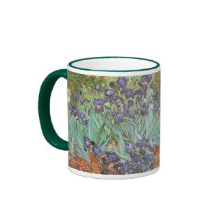 Irises by Vincent van Gogh, Vintage Impressionism Ringer Coffee Mug