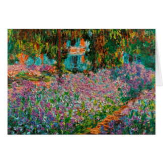 Irises In Monets Garden At Giverny by Claude Mone Card