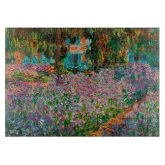 Irises In Monets Garden At Giverny by Claude Mone Cutting Board